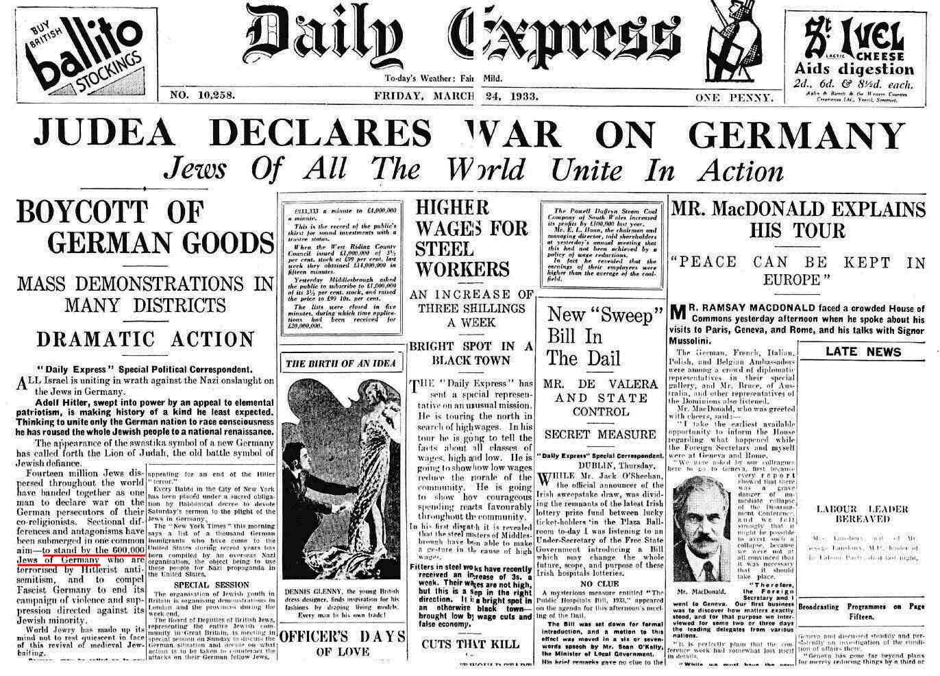 judea declares war on germany